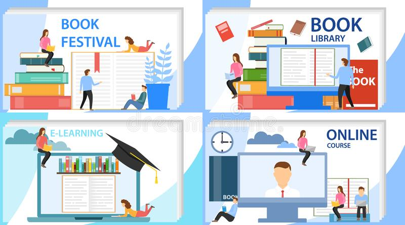 Educação em linha, cursos em linha, biblioteca em linha O conceito de um festival do livro Ilustração do vetor de uma aprendizage ilustração stock