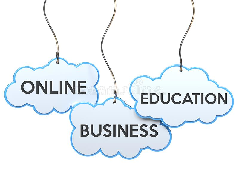 Educação em linha do negócio na bandeira da nuvem ilustração royalty free