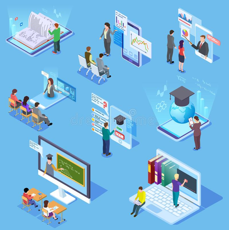 Educação em linha dos povos Estudantes virtuais da biblioteca de sala de aula, professor do professor, aprendendo o smartphone de ilustração do vetor
