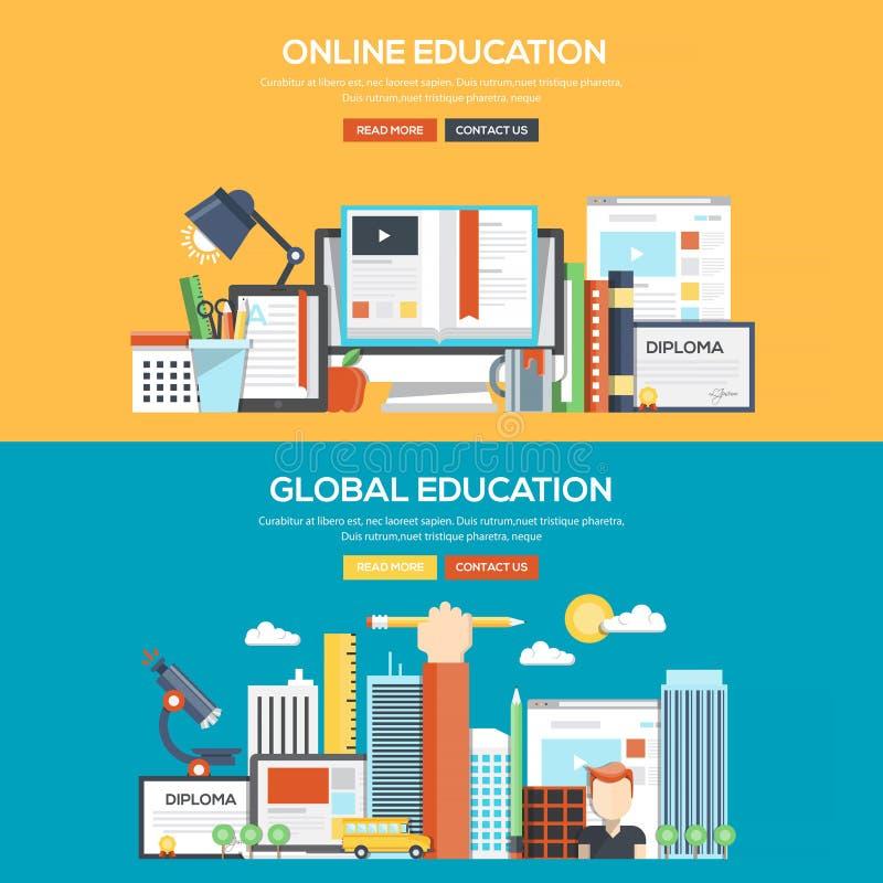 Educação em linha e global da bandeira lisa do conceito de projeto - ilustração stock