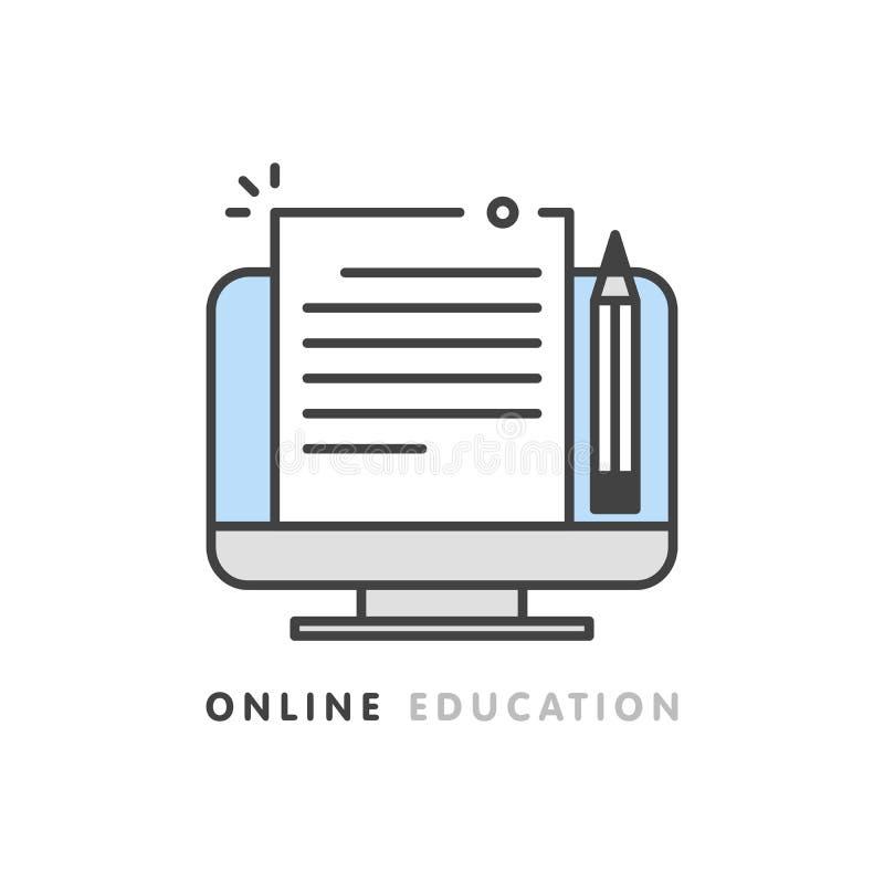 Educação em linha, escrita criativa e narração, conceito copywriting, editando o documento de texto, aprendizagem distante, vetor ilustração do vetor