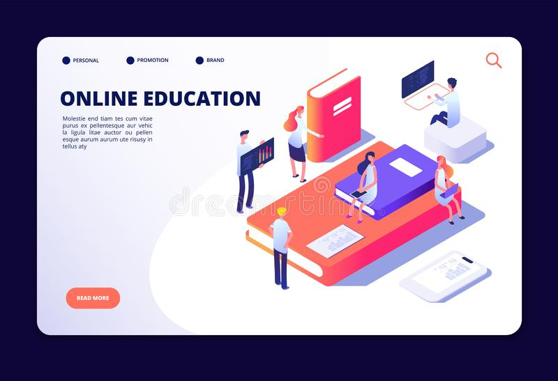 Educação em linha isométrica Treinamento da classe do Internet, estudando na sala de aula em linha Cursos, vetor da tecnologia da ilustração stock