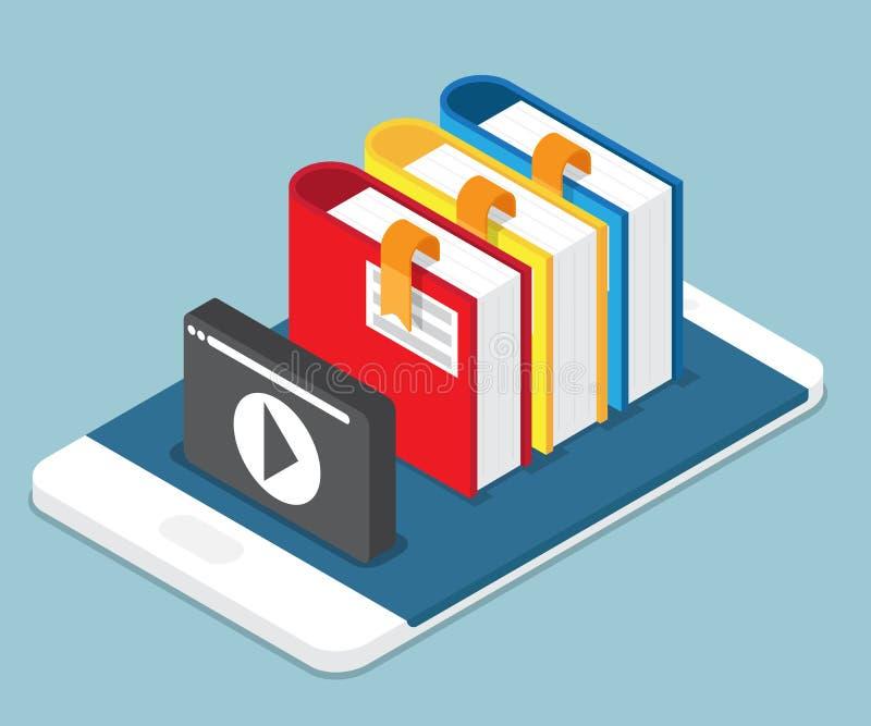 A educação em linha, lição, conceito tutorial registra no móbil com ilustração stock