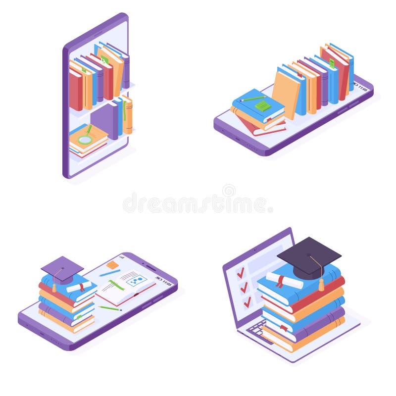 Educação em linha ou leitura da ilustração isométrica do vetor ilustração stock