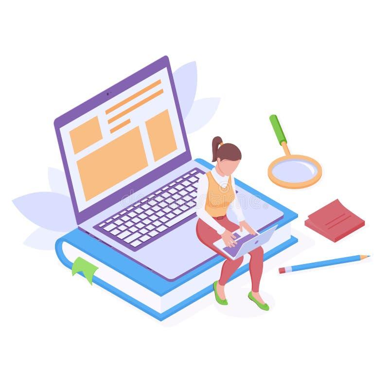 Educação em linha ou trabalho com ilustração isolada do vetor isométrico do laptop ilustração stock