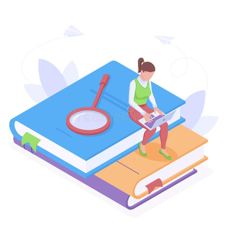 Educação em linha ou trabalho com ilustração isolada do vetor isométrico do laptop ilustração do vetor