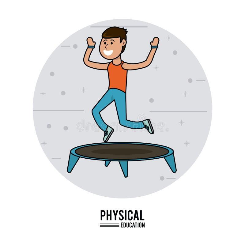 Educação física - esporte de salto do trampolim da prática do menino ilustração do vetor