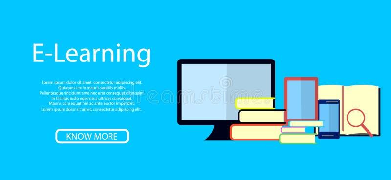 Educação Infographic Ilustração lisa para o ensino eletrónico e a educação em linha ilustração royalty free