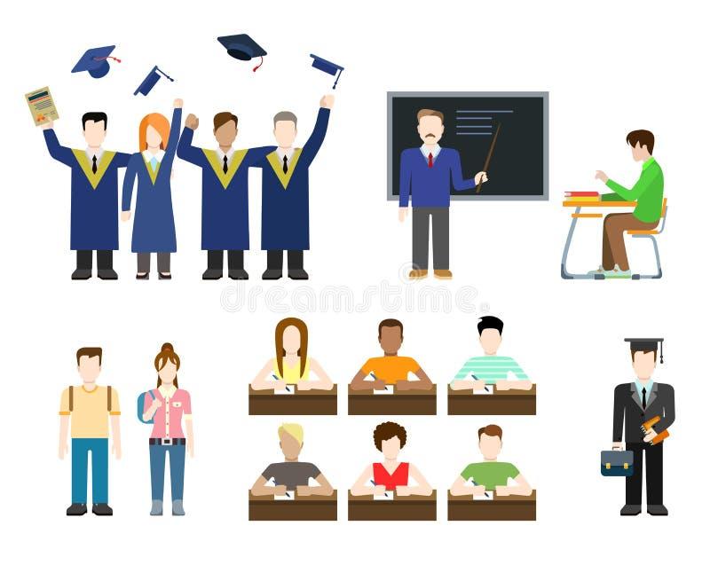 Educação lisa do vetor: estudantes, professor, graduado, universidade ilustração do vetor
