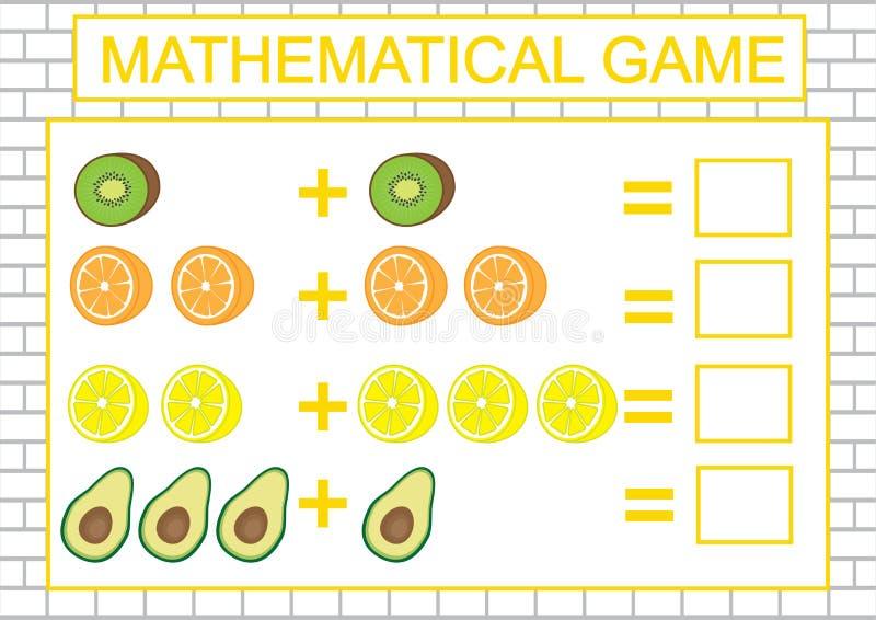 Educação para crianças Tarefa matemática que conta, adição Ilustração do vetor ilustração do vetor