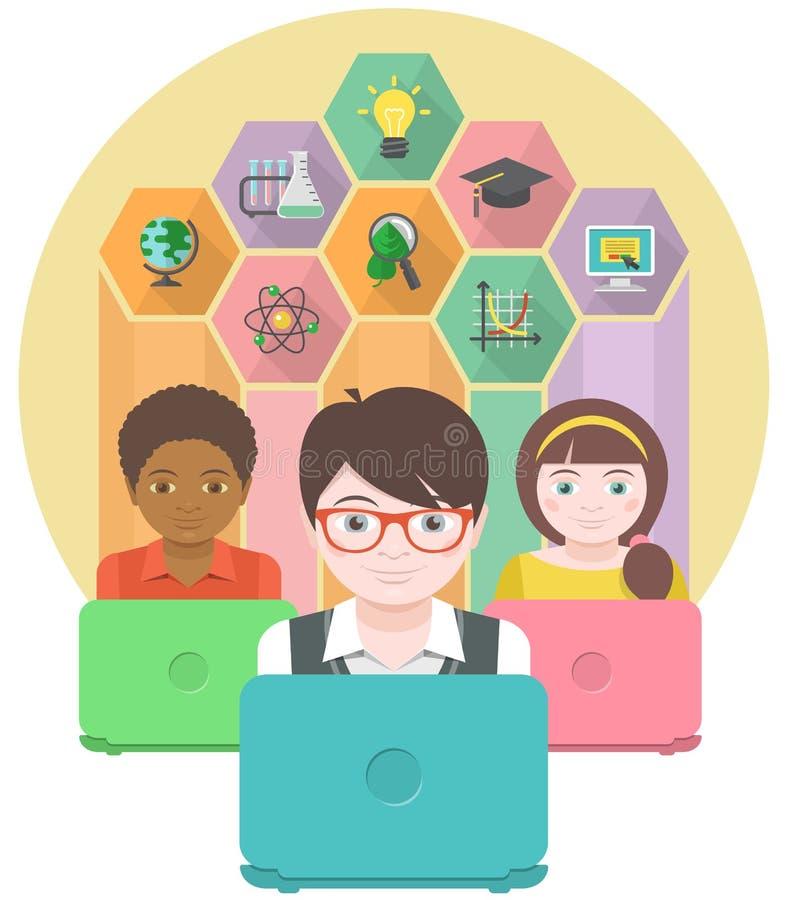 Educação pelo computador ilustração royalty free