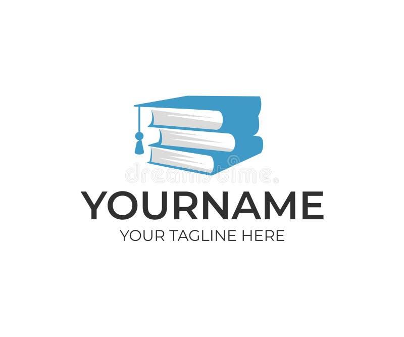Educação, pilha de livros e chapéu do licenciado, projeto do logotipo Estudo, aquisição de conhecimento, universidade e instituto ilustração stock