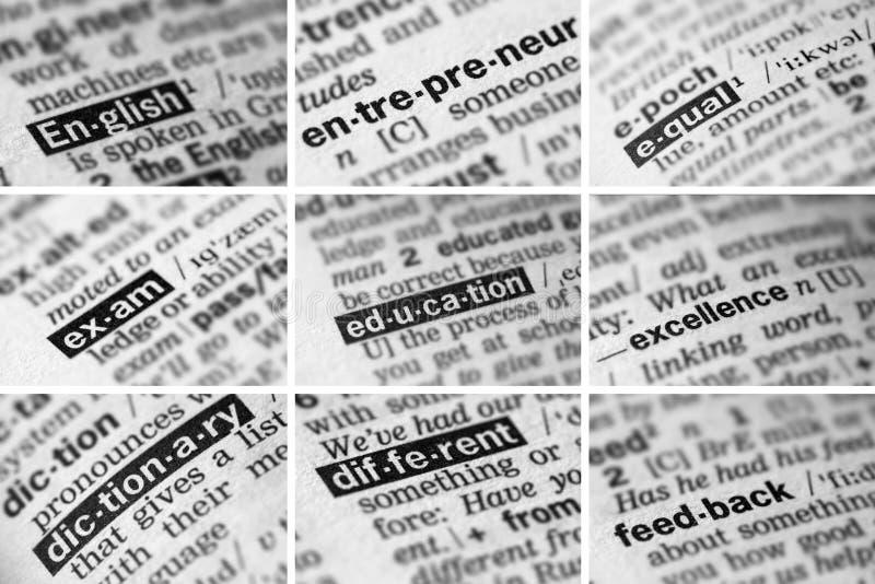 Educação que aprende as palavras ajustadas (2 de 8) fotos de stock