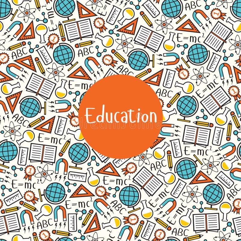 Educação sem emenda do teste padrão ilustração stock