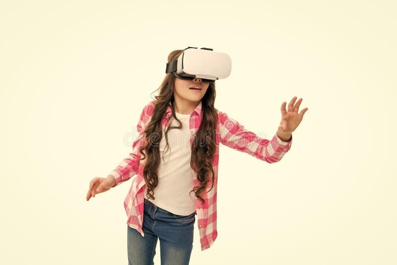 Educa??o virtual Hmd do desgaste da crian?a para explorar a realidade virtual ou aumentada Tecnologia futura Realidade interativa fotografia de stock