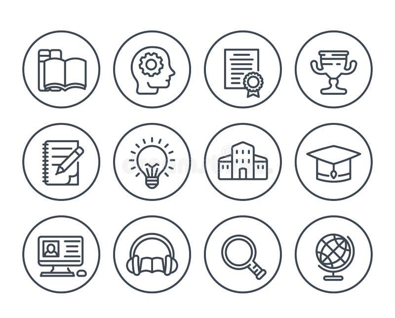 Educación, aprendiendo la línea iconos en blanco stock de ilustración