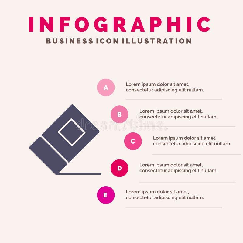 Educación, borrador, fondo sólido inmóvil de la presentación de los pasos de Infographics 5 del icono libre illustration