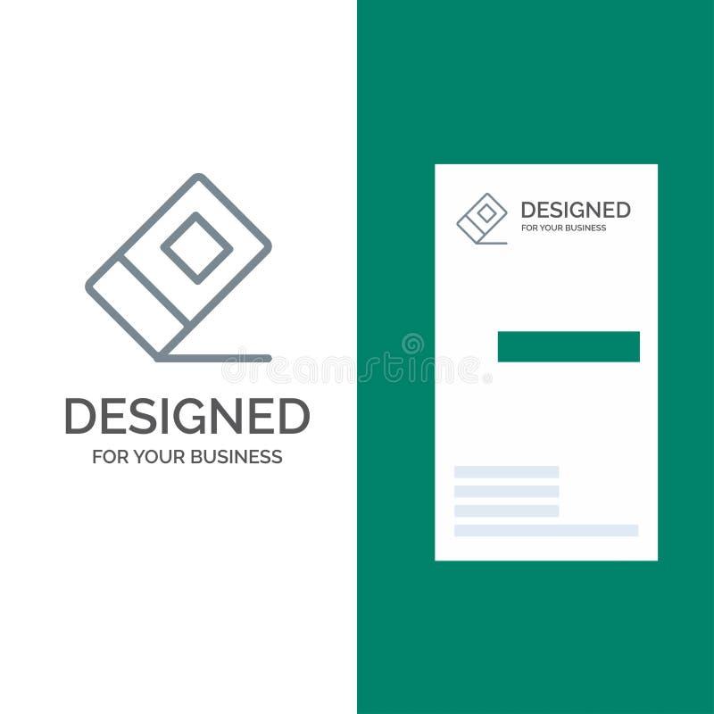 Educación, borrador, Grey Logo Design inmóvil y plantilla de la tarjeta de visita ilustración del vector