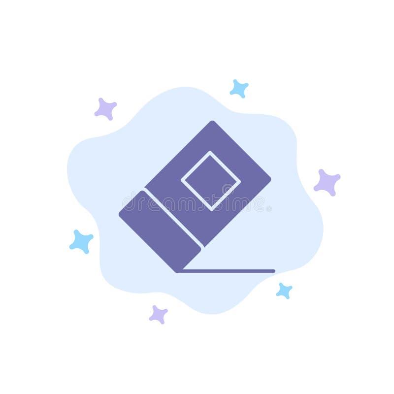 Educación, borrador, icono azul inmóvil en fondo abstracto de la nube libre illustration
