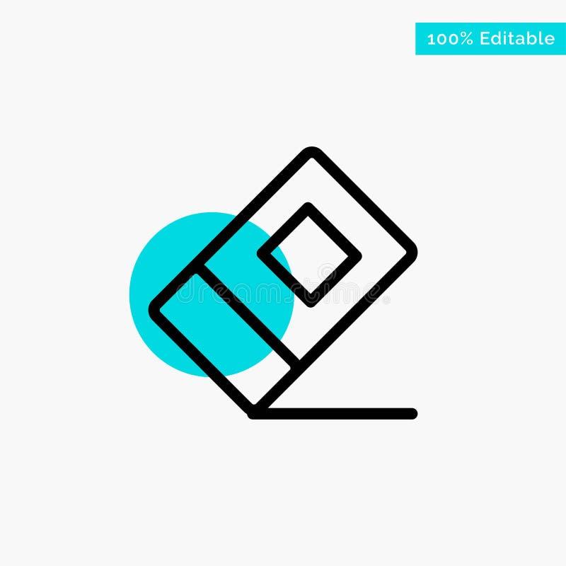 Educación, borrador, icono inmóvil del vector del punto del círculo del punto culminante de la turquesa libre illustration