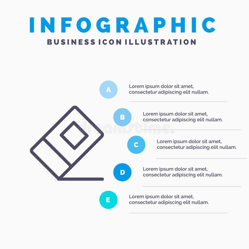 Educación, borrador, línea inmóvil icono con el fondo del infographics de la presentación de 5 pasos stock de ilustración