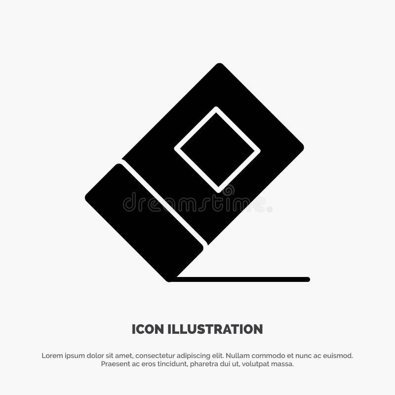 Educación, borrador, vector sólido inmóvil del icono del Glyph stock de ilustración