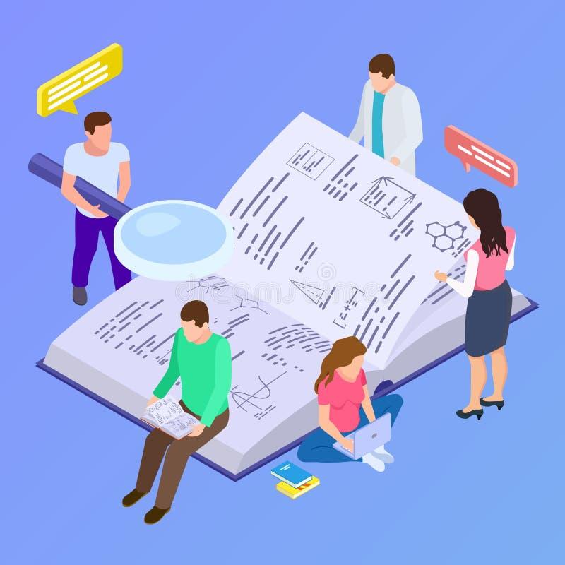 Educación colectiva, ejemplo isométrico del vector de la investigación del grupo stock de ilustración