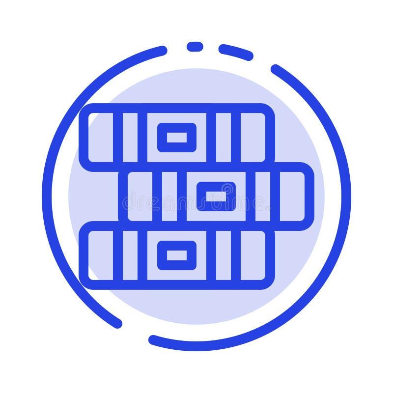 Educación, cuaderno, línea de puntos azul inmóvil línea icono stock de ilustración