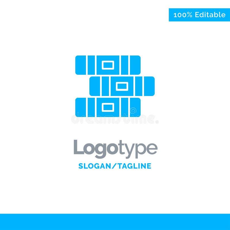 Educación, cuaderno, Logo Template sólido azul inmóvil Lugar para el Tagline stock de ilustración