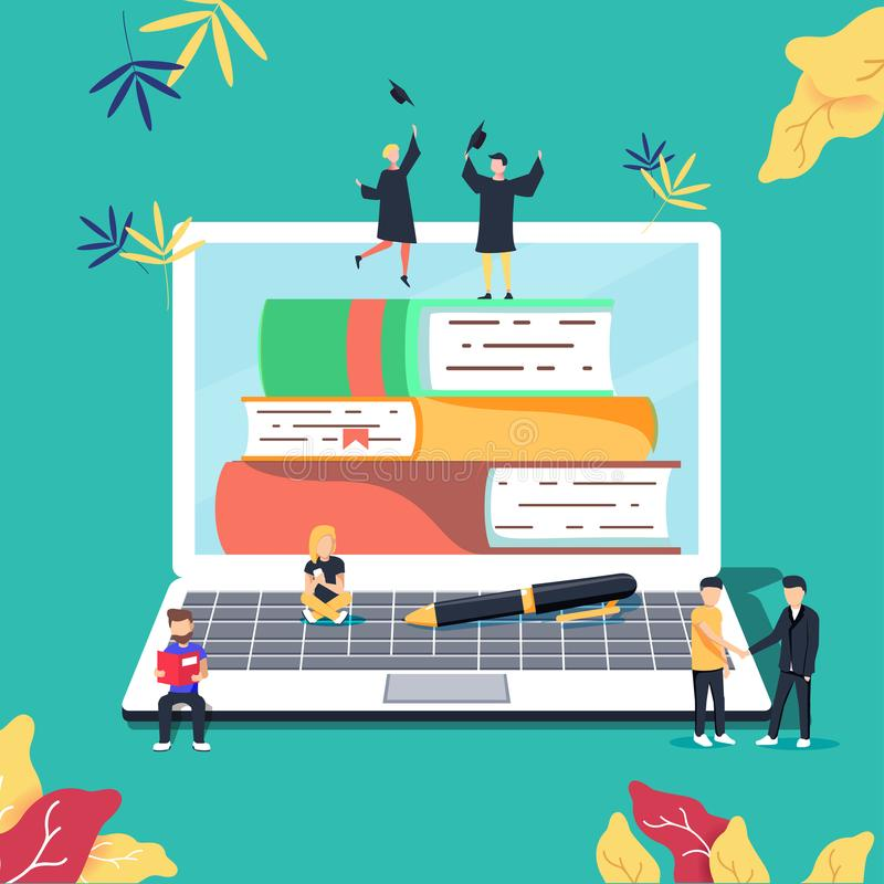 Educación, cursos de aprendizaje en línea, ejemplo del vector de la educación a distancia Studyin de Internet stock de ilustración