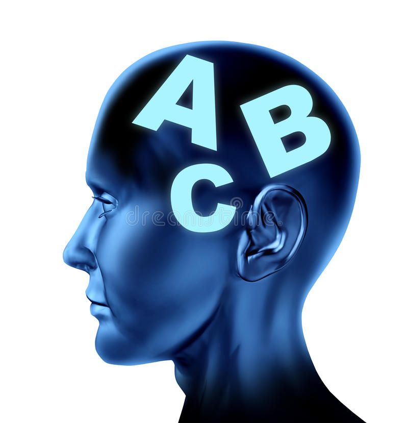 Educación de la terapia de la escritura de la lectura de discurso del cerebro ilustración del vector