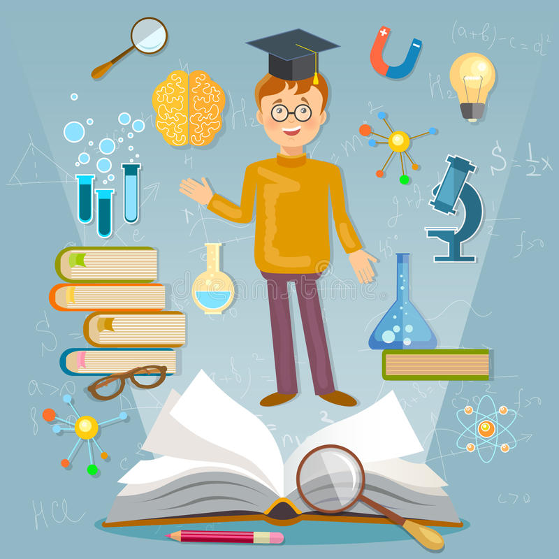 Educación de nuevo al estudiante de la escuela que estudia temas de escuela libre illustration