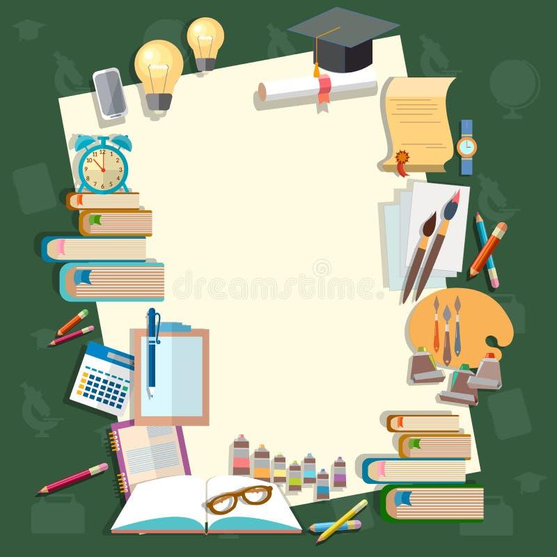 Educación de nuevo a temas de escuela de los libros de texto de las lecciones de la escuela ilustración del vector
