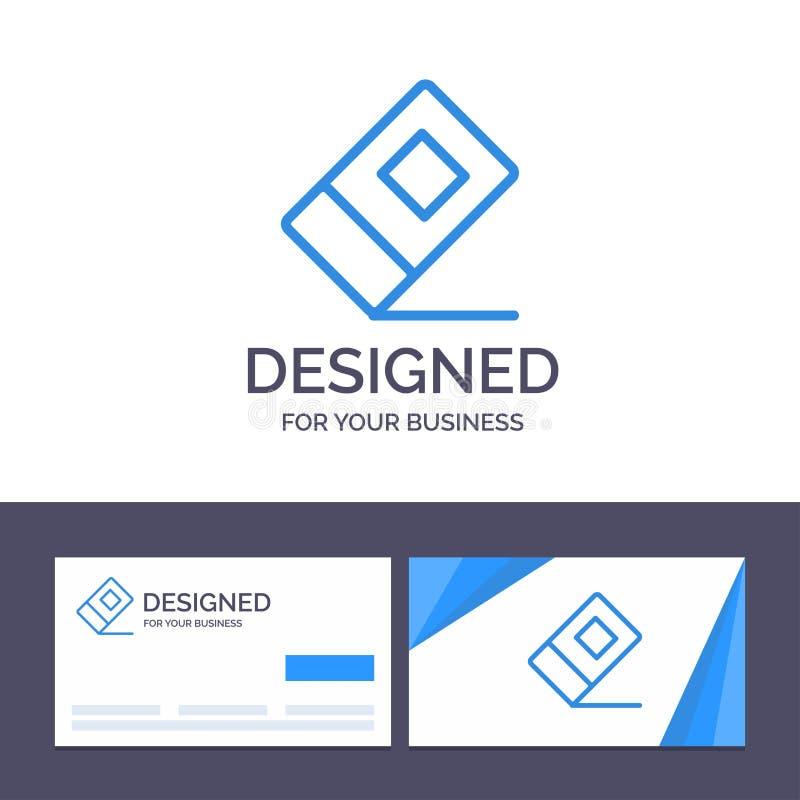 Educación de visita de la plantilla creativa de la tarjeta y del logotipo, borrador, ejemplo inmóvil del vector ilustración del vector