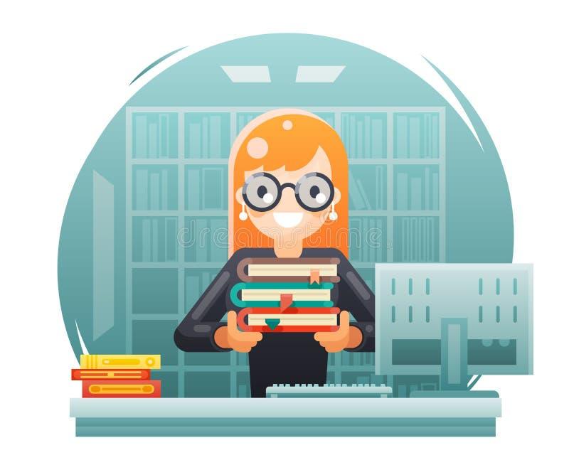 Educación del conocimiento de la biblioteca que aprende a la muchacha del bibliotecario que celebra el ejemplo plano del vector d ilustración del vector