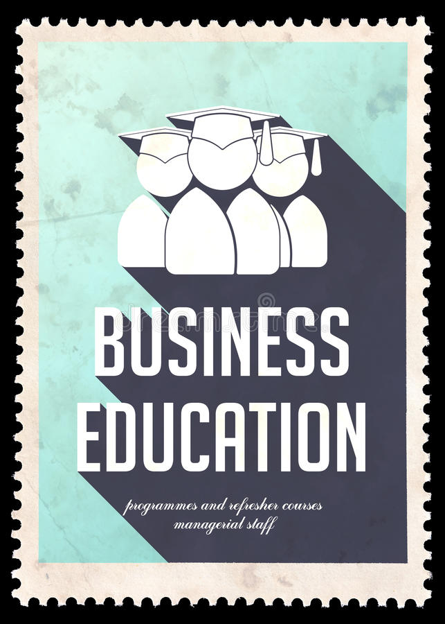 Educación del negocio en azul claro en diseño plano. stock de ilustración
