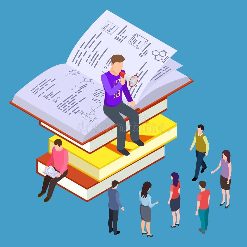 Educación del uno mismo, entrenamiento y vector de enseñanza concepto isométrico stock de ilustración