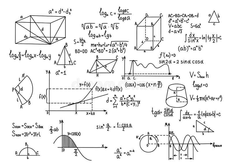 Educación dibujada mano del conocimiento de la ciencia de las fórmulas de la geometría ilustración del vector