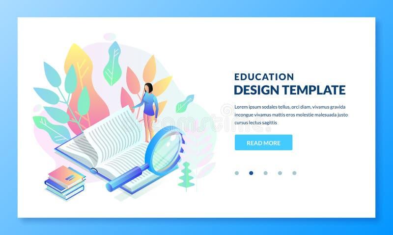 Educación, diseño de la bandera de la página del aterrizaje del estudio libro de lectura de la muchacha Ejemplo isom?trico del ve stock de ilustración
