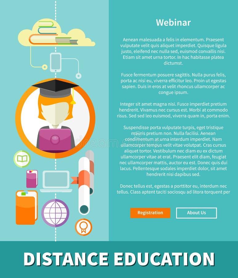 Educación a distancia y concepto del aprendizaje libre illustration