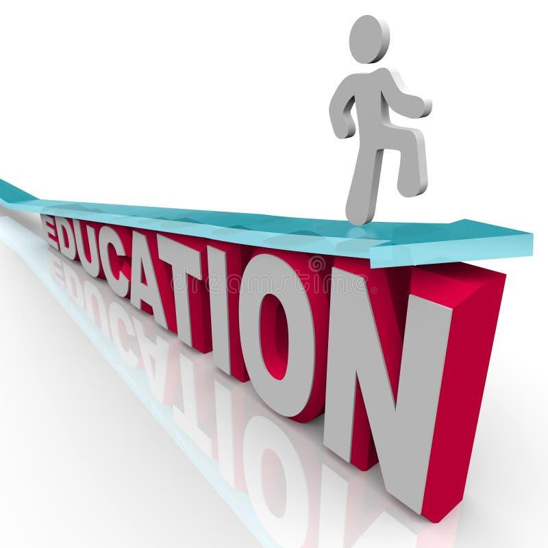 Educación - el hombre monta la flecha sobre palabra stock de ilustración