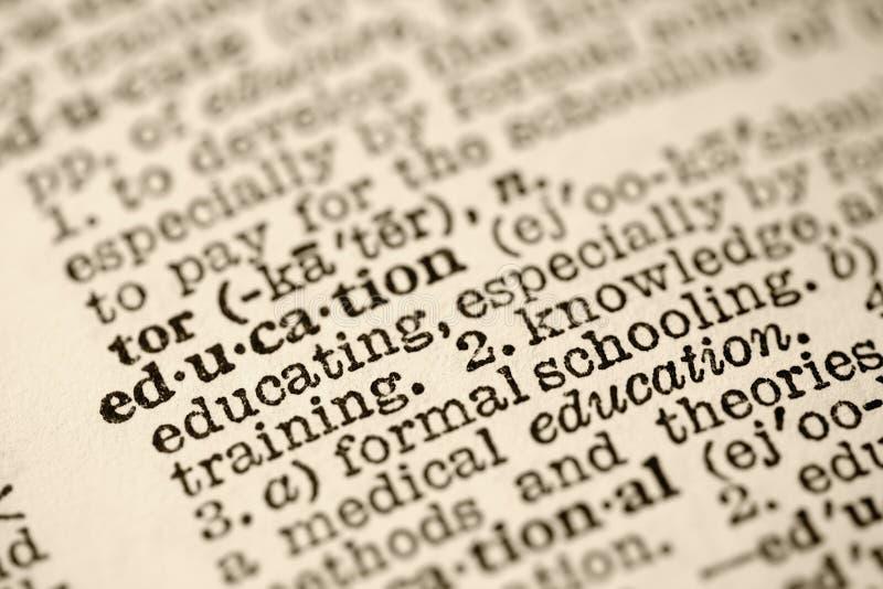 Educación en diccionario. fotografía de archivo
