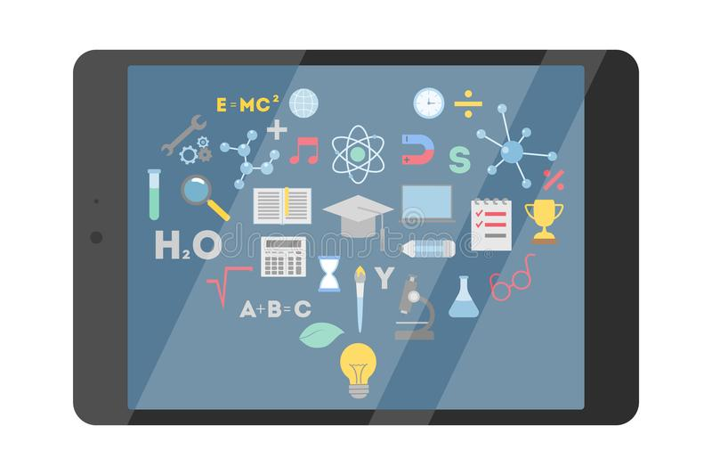 Educación en línea con la tableta stock de ilustración