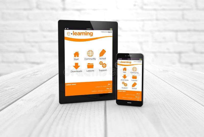 Educación en línea en la tableta y el smartphone stock de ilustración