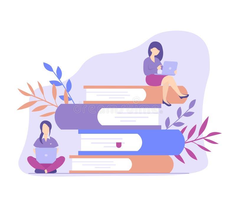 Educación en línea, entrenamiento, libros leídos del concepto en línea libre illustration