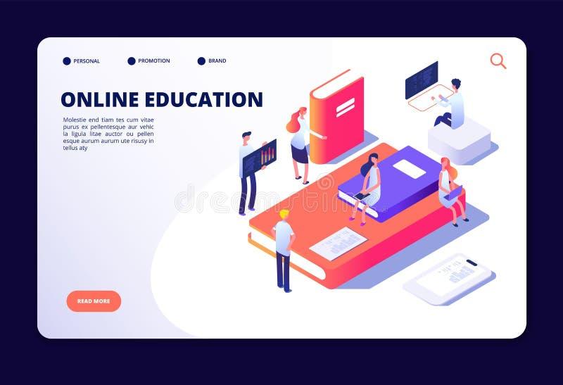 Educación en línea isométrica Entrenamiento de la clase de Internet, estudiando en sala de clase en línea Cursos, vector de la te stock de ilustración