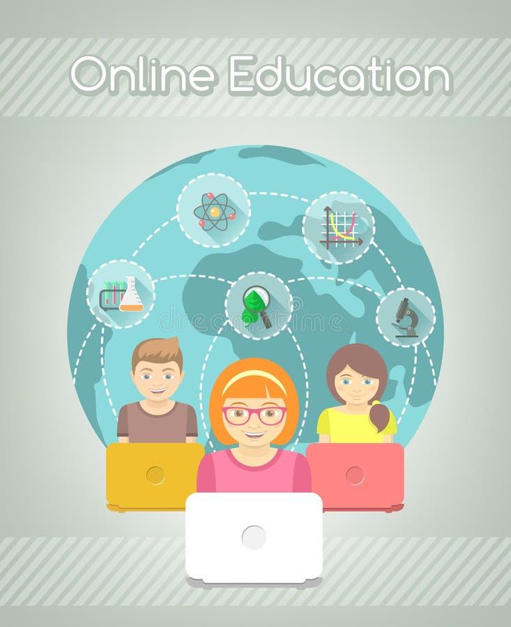 Educación en línea para los niños stock de ilustración