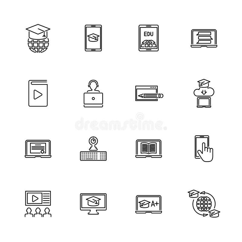 Educación en línea - línea plana iconos del vector libre illustration