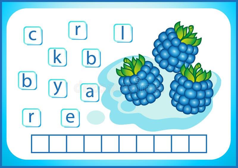 Educación escolar Flashcard inglés para aprender inglés Escribimos los nombres de verduras y de frutas Las palabras son un juego  stock de ilustración