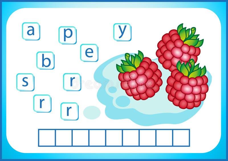 Educación escolar Flashcard inglés para aprender inglés Escribimos los nombres de verduras y de frutas Las palabras son un juego  ilustración del vector